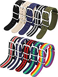 10 Pieces Nylon Watch Band Watch Straps Replacement with Stainless Steel Buckle for Men and Women's Watch Band Replacing, 18 mm