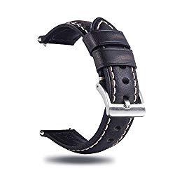 Berfine Quick Release Retro Leather Watch Band,Vintage Oil-Tanned Pull-up Leather Strap Replacement,Choice of Width-18mm 20mm 22mm 24mm or 26mm