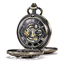 TREEWETO Men's Antique Brone Dragon Mechanical Skeleton Pocket Watch for Women with Chain