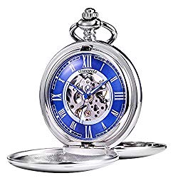 TREEWETO Pocket Watch – Smooth Double Case Series Skeleton Dial Delicate Mechanical Movement with Chain, Silver