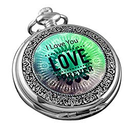 VIGOROSO Pocket Watch for Women Her Wife Mom Engraved I Love You Forever, Personalized Gift for Mother's Day Birthday Anniversary in Box