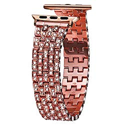 VIQIV Bling Bands for Compatible Apple Watch Band 38mm 40mm 42mm 44mm iWatch Series 4 3 2 1, Luxury Diamond Bracelet Metal Wristband Strap for Women