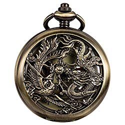 WENSHIDA Antique Pocket Watch Dragon & Phoenix Pattern with Chain Mens Mechanical Bronze + Gift Box