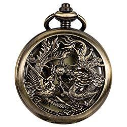 WENSHIDA Antique Pocket Watch Dragon & Phoenix Pattern with Chain Mens Mechanical Bronze + Gift Box
