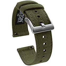 Barton Canvas Quick Release Watch Band Straps – Choose Color & Width – 18mm, 19mm, 20mm, 21mm, 22mm, or 23mm