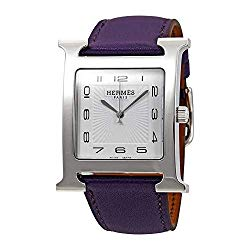 Hermes H Hour White Dial Purple Leather Ladies Watch 036839WW00