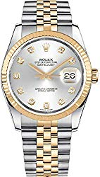 Rolex Datejust 36 Silver Dial Set with Diamonds Luxury Watch 116233