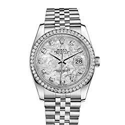 Rolex Datejust 36mm Mother Of Pearl Dial Diamond Bezel Steel Ladies Watch 116244