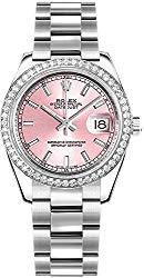 Women's Rolex Datejust 31 Pink Dial Diamond Bezel Luxury Watch 178384