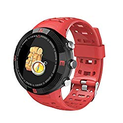 Bluetooth Watch,Outdoor Travel Waterproof Compass Watch Multi Functions GPS Positioning Heart Rate Pedometer Call Message Reminder 1.3 inch Round Sports Watch for Samsung Note 9 (Red) Boens