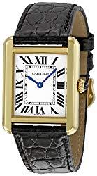 Cartier Women's W5200002 Tank Solo Black Leather Strap Watch