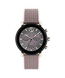 Movado Connect 2.0 Unisex Powered with Wear OS by Google Stainless Steel and Pink Sand Fabric Smartwatch, Color: Pink (Model: 3660025)