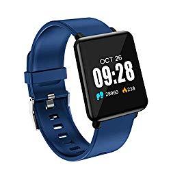 Smart Watch, Heart Rate Activity Step Music Control Smart Watch For Kids Women Men (Blue)