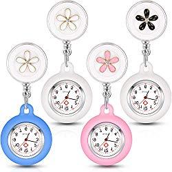 4 Pieces Nurse Watch for Nurses Doctors, Clip-on Hanging Lapel Nurse Watch Silicone Cover Brooch Fob Pocket Watch Badge Reel Retractable Digital Watch