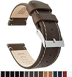 Barton Quick Release – Top Grain Leather Watch Band Strap – Stainless Steel Buckle – Choice of Width – 16mm, 18mm, 19mm, 20mm, 21mm 22mm, 23mm or 24mm Standard Length & Long