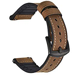 BEAFIRY 20mm 22mm Quick Release Watch Band Sports Leather Silicone Hybrid Smart Watch Strap for Men Sweatproof Soft Watchband for Women 8 Colors