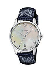 Gucci G-Timeless Mother of Pearl Dial Leather Strap Ladies Watch YA1264049