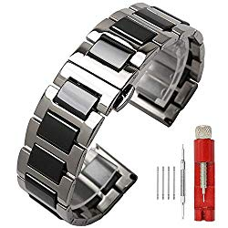 Luxury Black White Blue Green Brown Pink Ceramic Watch Band Stainless Steel Watch Bracelets Deployment Clasp Metal Watch Strap for Men Women 14mm 16mm 18mm 20mm 22mm