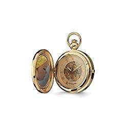 Sonia Jewels Charles Hubert Gold Men's Finish Brass 2-Photo Insert Pocket Watch 14.5″