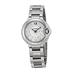 Cartier Ballon Bleu Silver Diamond Dial Stainless Steel Ladies Watch WE902073