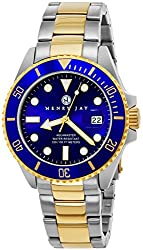 "Henry Jay Mens 23K Gold Plated Two Tone Stainless Steel""Specialty Aquamaster"" Professional Dive Watch with Date"