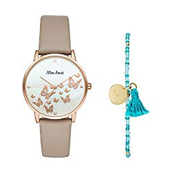 Mon Amie Women's Novelty Opportunity Quartz Stainless Steel and Leather Watch and Bracelet Set, Color: Rose Gold, Grey (Model: CBMA8500)