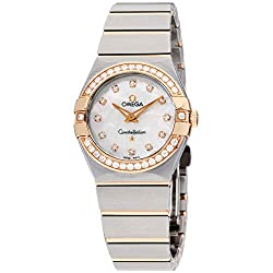 Omega Constellation Diamond Mother of Pearl Dial Rose Gold and Steel Ladies Watch 12325276055001
